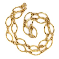 """Closeup photo of 14K YG MILOR Italy Open Link Necklace 6.1g, 23"""""""