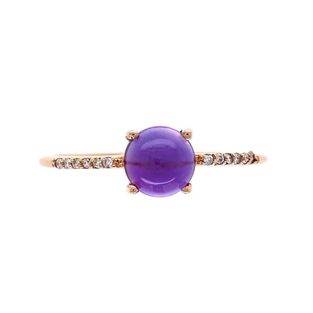 18K RG 1ct Cabochon Amethyst & .05tcw Diamond Ring 1.8g, s8