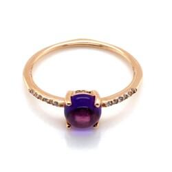 Closeup photo of 18K RG 1ct Cabochon Amethyst & .05tcw Diamond Ring 1.8g, s8