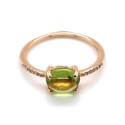 Closeup photo of 18K RG 2.05ct Cabochon Peridot & .05tcw Diamond Ring 2.1g, s8