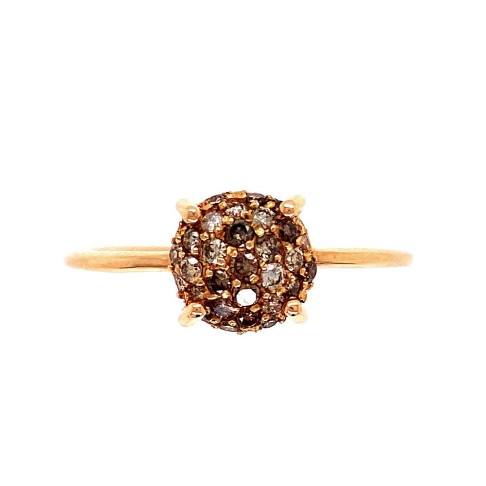 18K RG Champagne Cluster .38tcw Diamond Ring 2.5g, s7.75