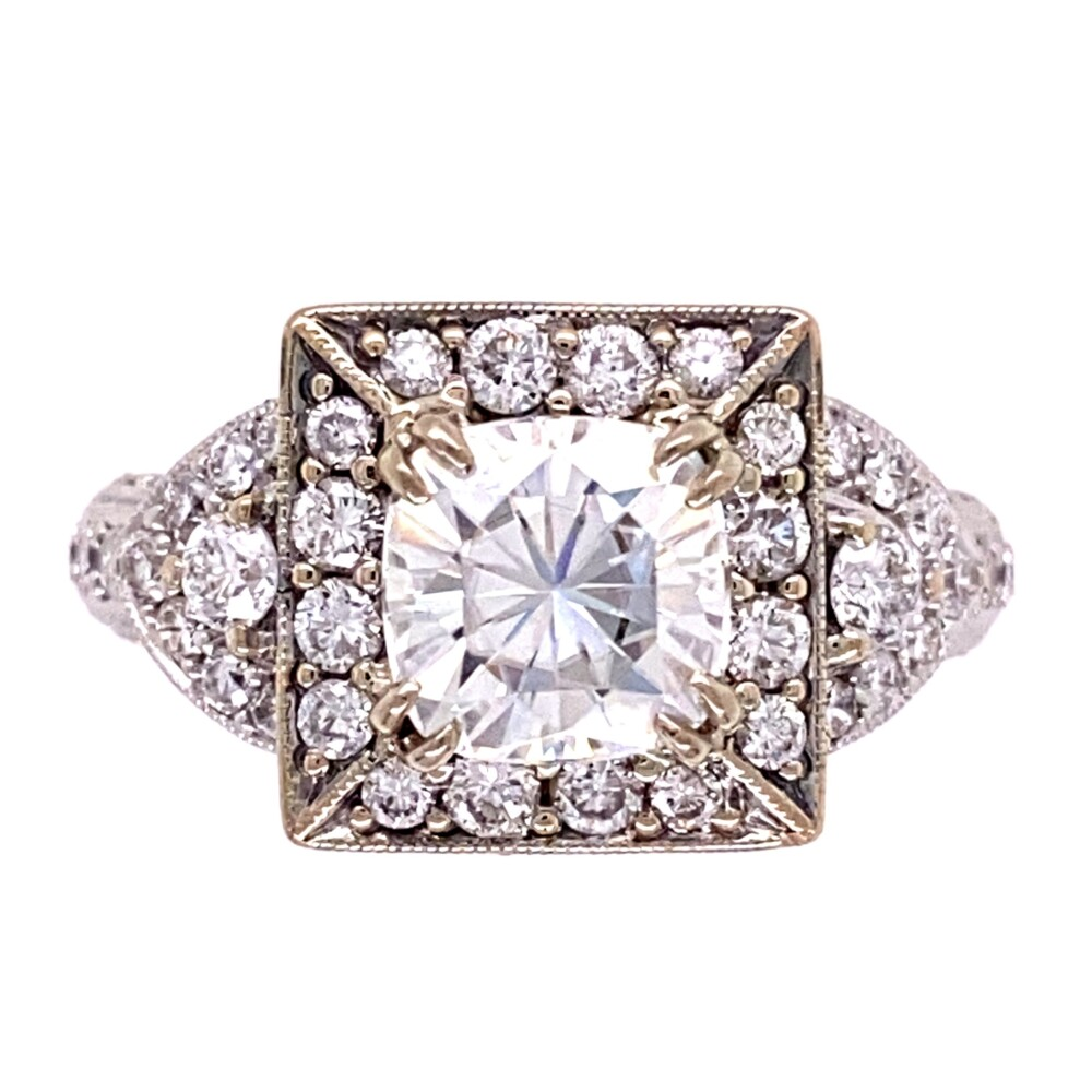 Image 2 for 18K WG 2ct Cushion Moissanite & 1.35tcw Diamond Ring 6.8g, s6.5