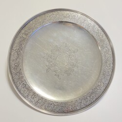 "Closeup photo of 925 Sterling Tiffany & Co Engraved 12"" Serving Platter c1900, 776g"
