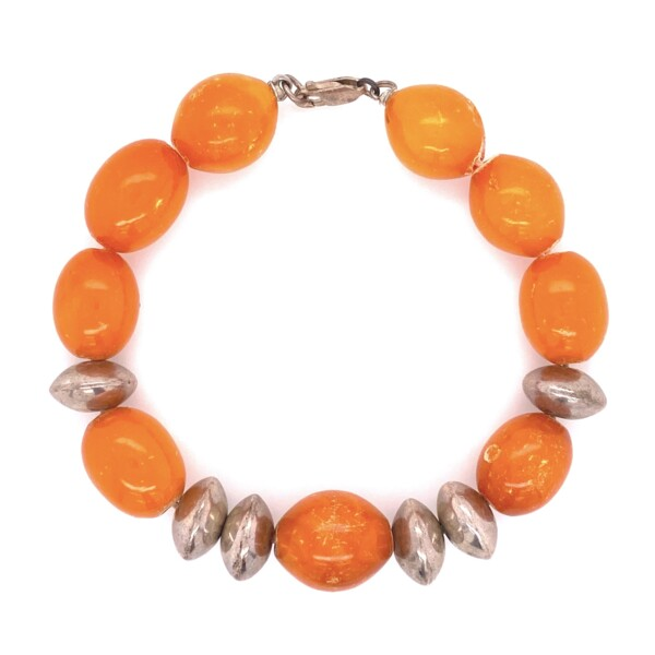 Closeup photo of 925 Sterling Sterling & Opaque Orange Amber Bracelet 17.7g, 7.5""