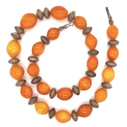 Closeup photo of 925 Sterling Sterling & Opaque Orange Amber Necklace 52.6g, 19.5""
