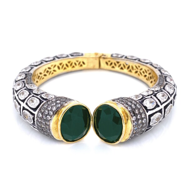 Closeup photo of GF Yellow Cuff Bangle Green Stones & Paste 60.6g