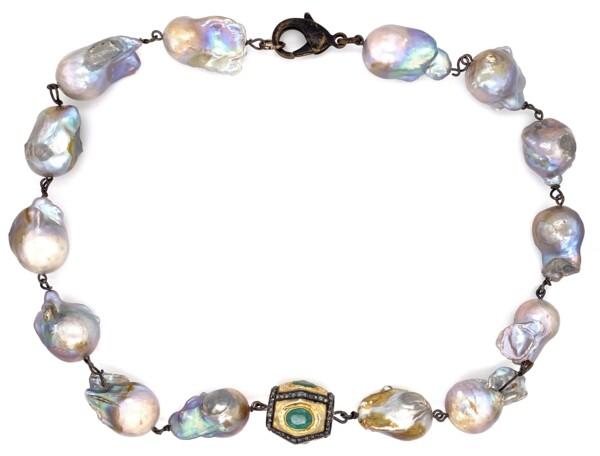 "Closeup photo of GF Emerald & 1.50tcw Diamond Clasp on Baroque Pearl Necklace 95.5g, 16"""