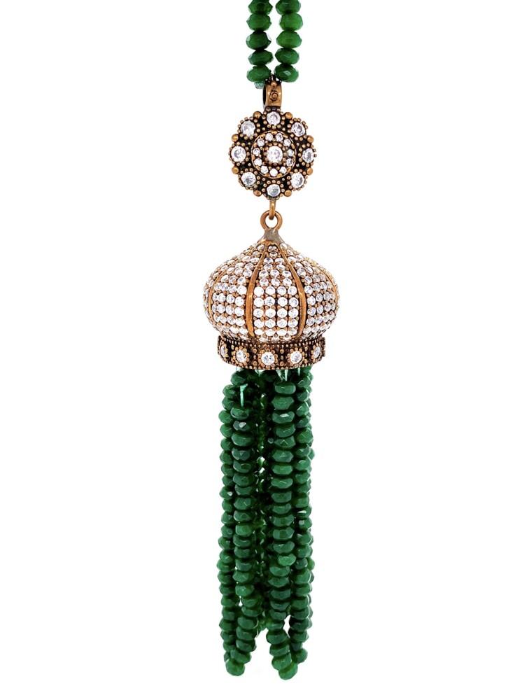 "Image 2 for GF Yellow ARMASA Green Stone & Diamond Simulant Necklace 56.5g, 36"""