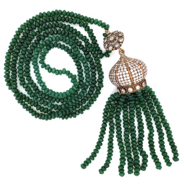 "Closeup photo of GF Yellow ARMASA Green Stone & Diamond Simulant Necklace 56.5g, 36"""