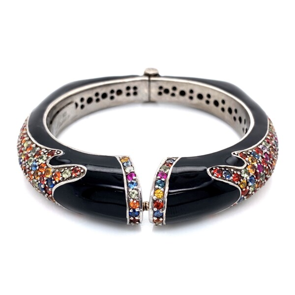 Closeup photo of 925 Sterling RINA LIMOR Multi Color Sapphire & Black Enamel Hinged Cuff 69.3g