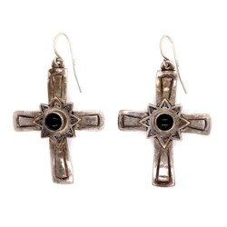 """Closeup photo of 925 Sterling Silver & Onyx JEEP COLLINS Cross Earrings 9.4g, 2"""""""