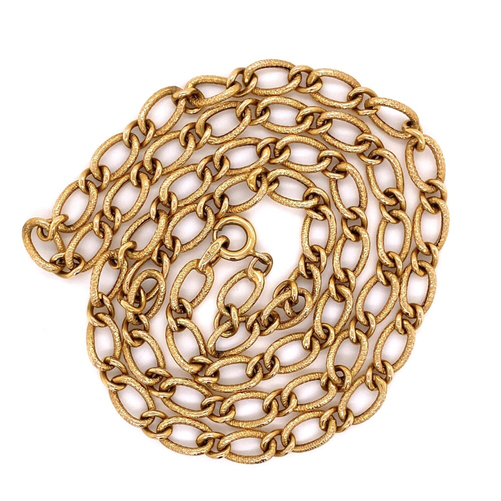Image 2 for 18K YG Hammered Link Chain 13.8g, 23""
