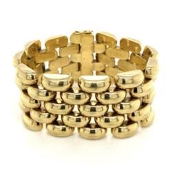 Closeup photo of 14K YG 1970's Hollow 5 Link Bracelet 63.6g, 7.5in