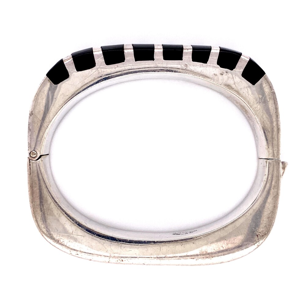925 Sterling Openable Bangle with Onyx 61.9g