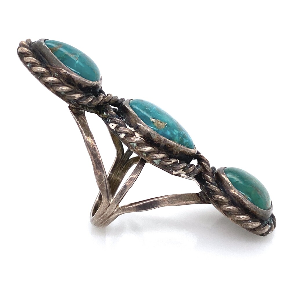 Image 2 for 925 Sterling Native 3 Turquoise Rope Design Ring 11.7g, Size 5.5