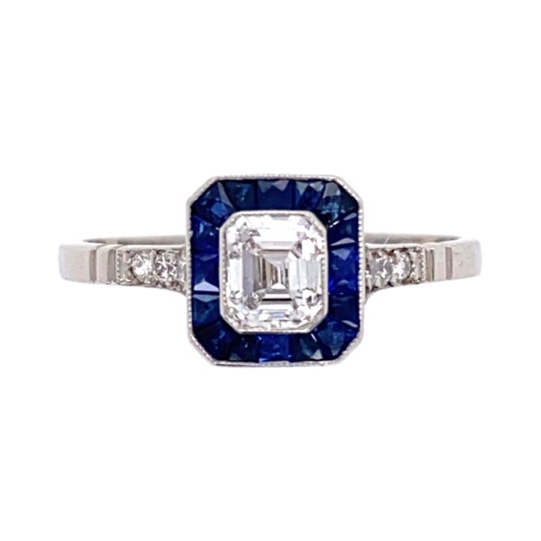 Closeup photo of Platinum .46ct Square Emerald Cut Diamond with Sapphire Halo Ring, s7.5