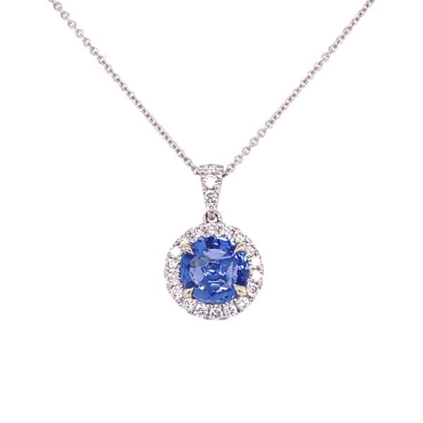"Closeup photo of 14K WG 1.76ct Round Blue Sapphire & .28tcw Diamond Halo Pendant, 16"""
