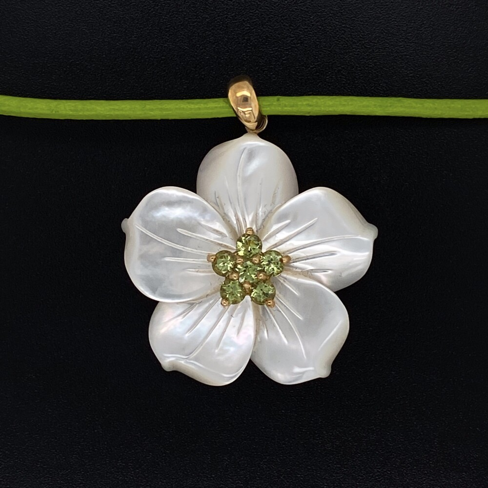 """Image 2 for 14K YG Carved Mother of Pearl Flower with Peridot Pendant on Leather Cord, 17"""""""