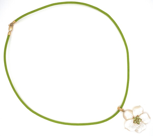 """Closeup photo of 14K YG Carved Mother of Pearl Flower with Peridot Pendant on Leather Cord, 17"""""""