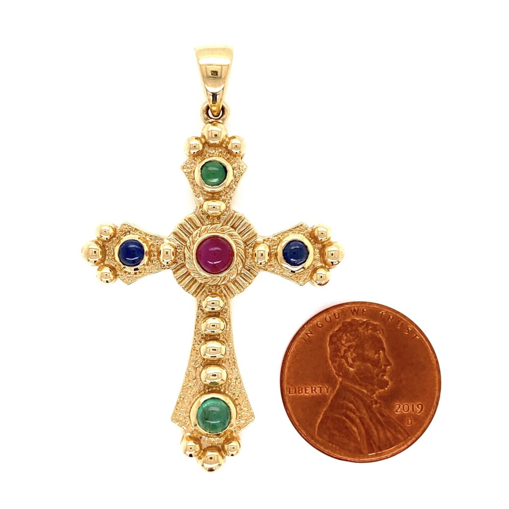 "Image 2 for 14K YG Ornate Tutti-Fruiti Cross with Ruby, Sapphires & Emeralds 6.8g, 2"" Tall"