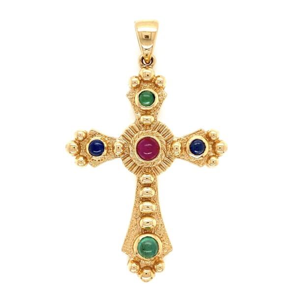 "Closeup photo of 14K YG Ornate Tutti-Fruiti Cross with Ruby, Sapphires & Emeralds 6.8g, 2"" Tall"