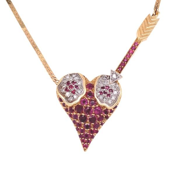 "Closeup photo of 14K YG ERTE L'Amour Heart Pendant Rubies & Diamonds 14.2g, 18"""