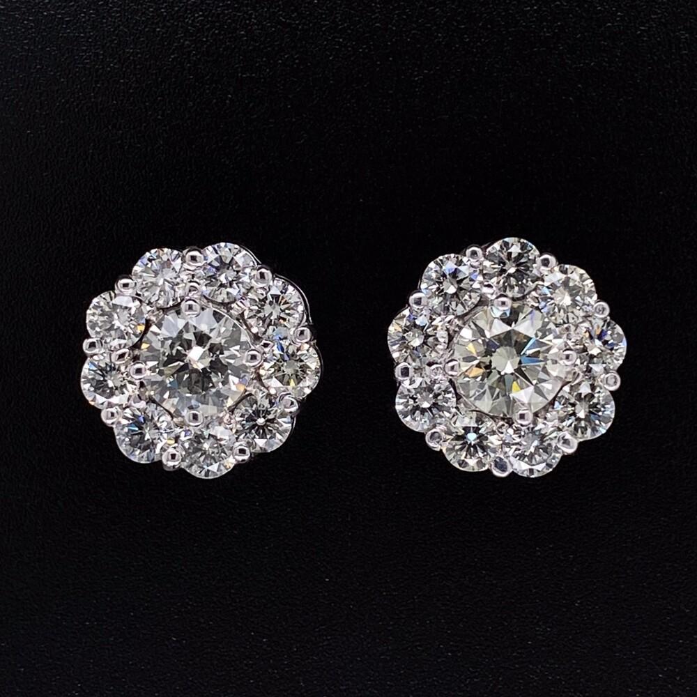 14K WG 20 Stone Diamond Cluster Earrings 4.16tcw, 6.5g