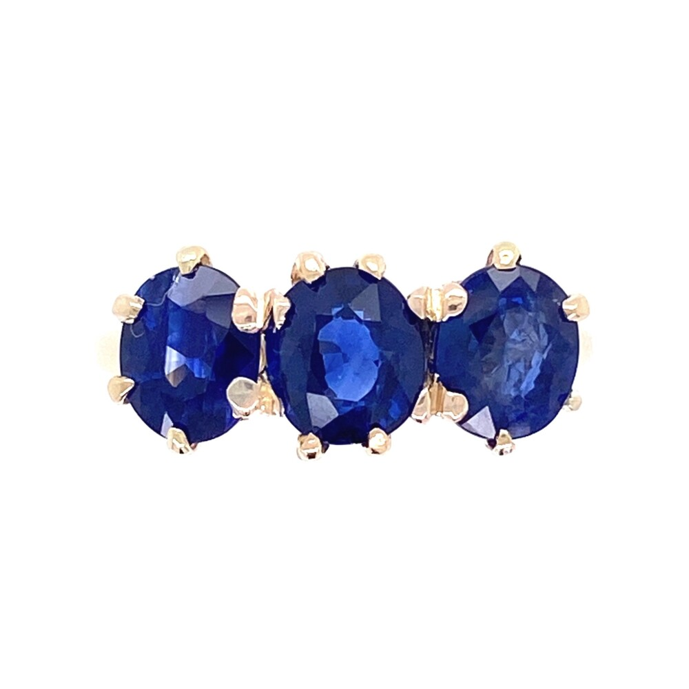 Image 2 for 14K YG Victorian 3 Stone Sapphire Ring 2.64tcw 2.6g, s5