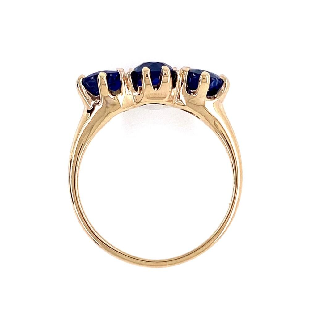 14K YG Victorian 3 Stone Sapphire Ring 2.64tcw 2.6g, s5