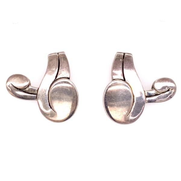 Closeup photo of 925 Sterling Spratling Taxco Modern Earrings  14.5g