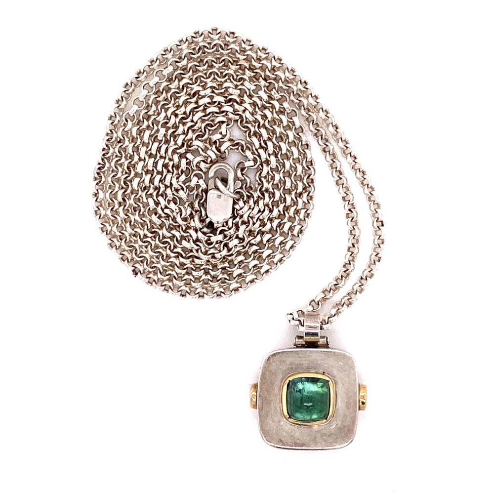 """925 Sterling Green Tourmaline Cabochon Necklace 14.1g, 30"""""""