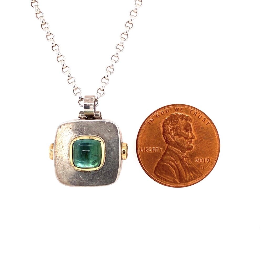 """Image 2 for 925 Sterling Green Tourmaline Cabochon Necklace 14.1g, 30"""""""