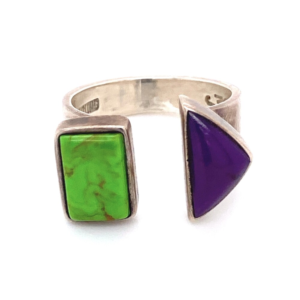 925 Sterling MJ Green Turquoise & Sugilite Ring 7.5g, s7.5