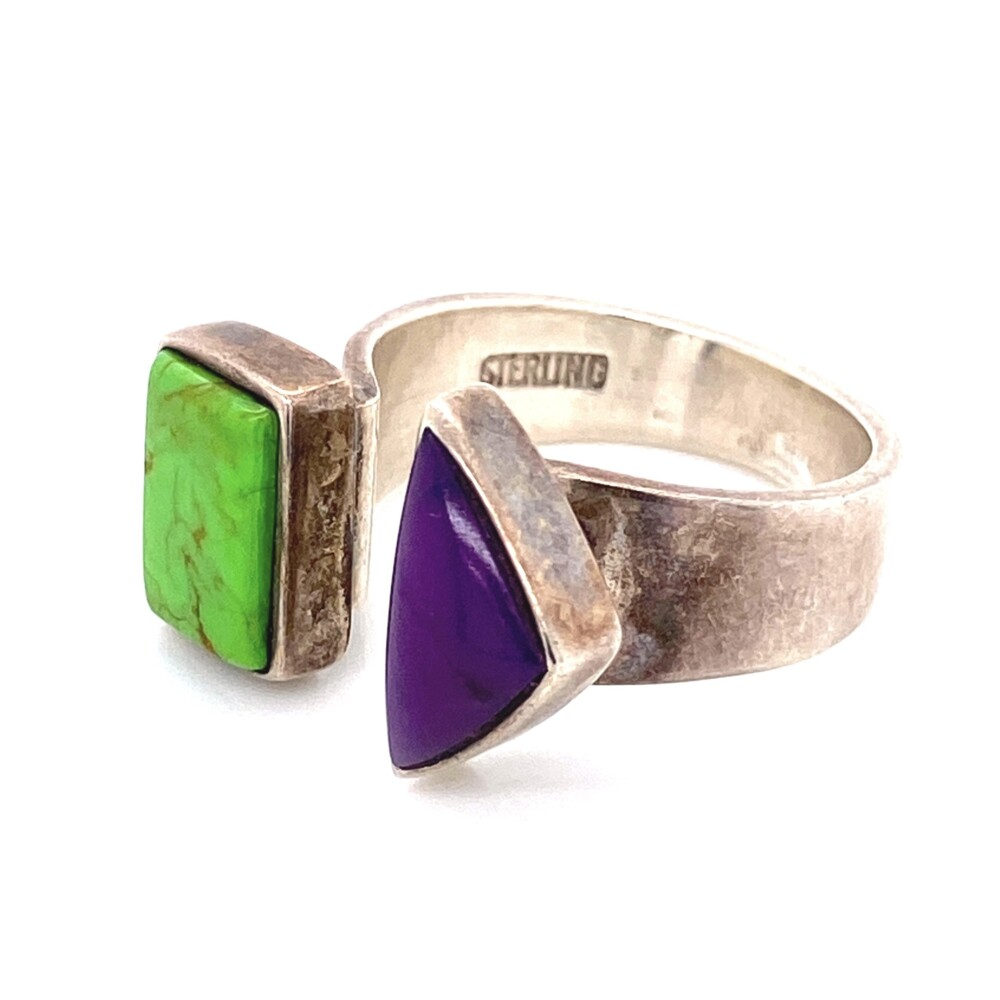 Image 2 for 925 Sterling MJ Green Turquoise & Sugilite Ring 7.5g, s7.5