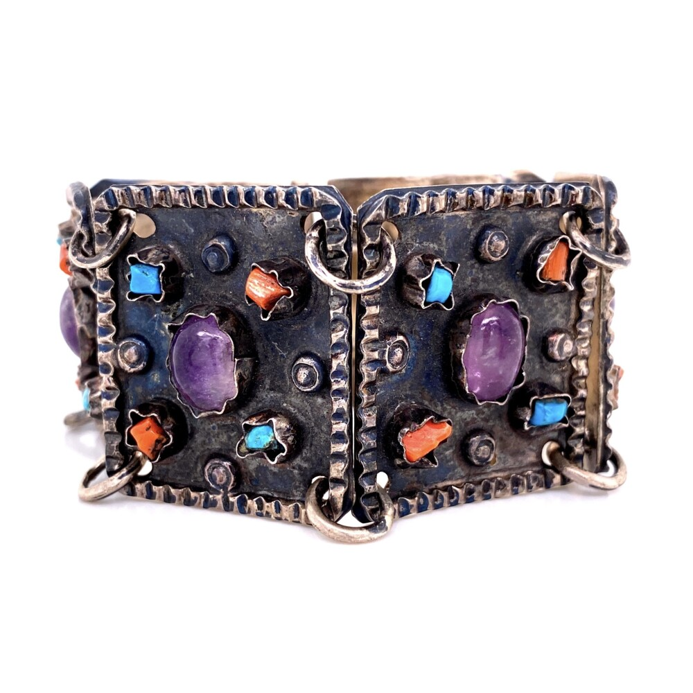 """925 Sterling TAXCO Bracelet with Amethyst, Turquoise, Coral 45.7g, 6.25"""""""