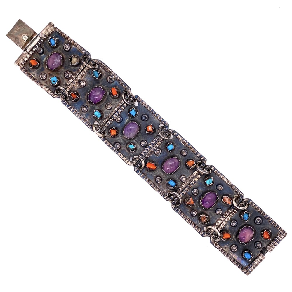 """Image 2 for 925 Sterling TAXCO Bracelet with Amethyst, Turquoise, Coral 45.7g, 6.25"""""""