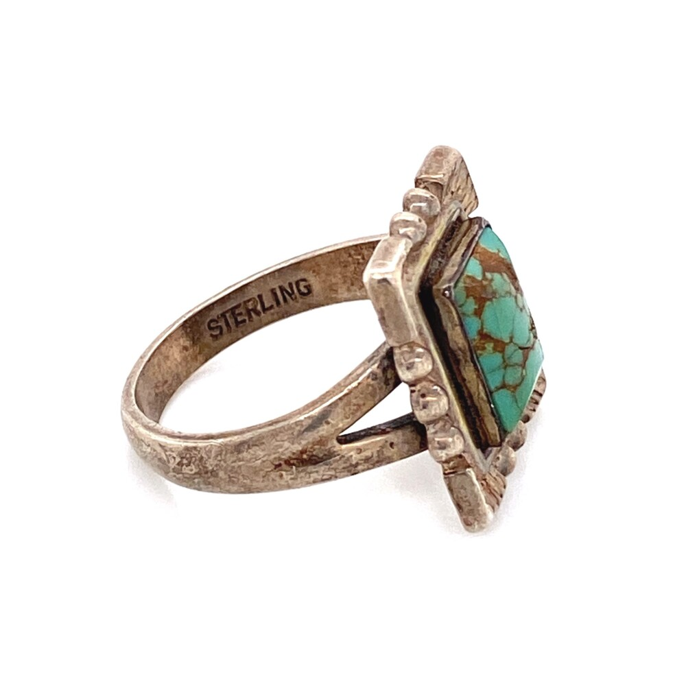 Image 2 for 925 Sterling Square Turquoise Ring 4.9g