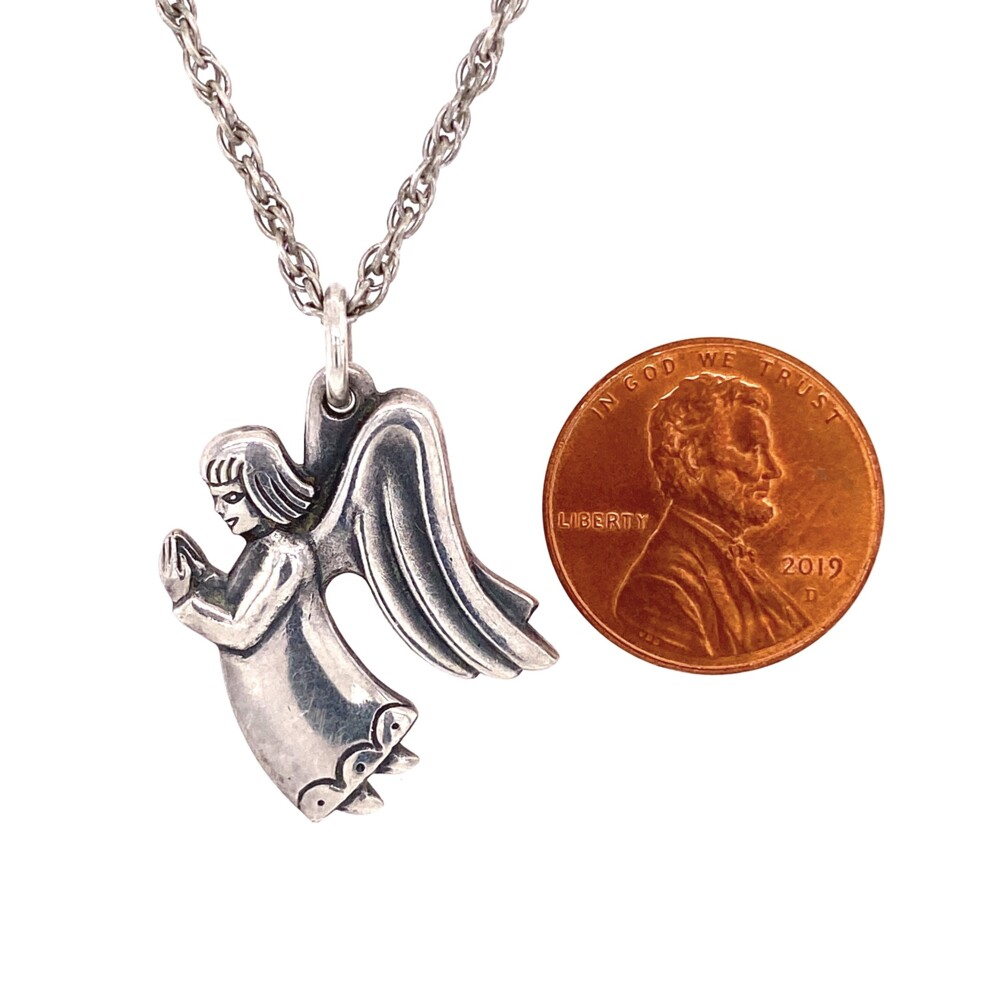 """Image 2 for 925 Sterling James Avery Praying Angel Necklace 10.2g, 24"""""""