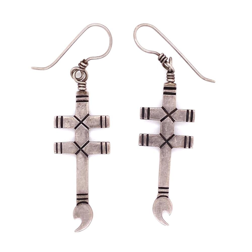 925 Sterling Double Cross Wrench Earrings 5.4g