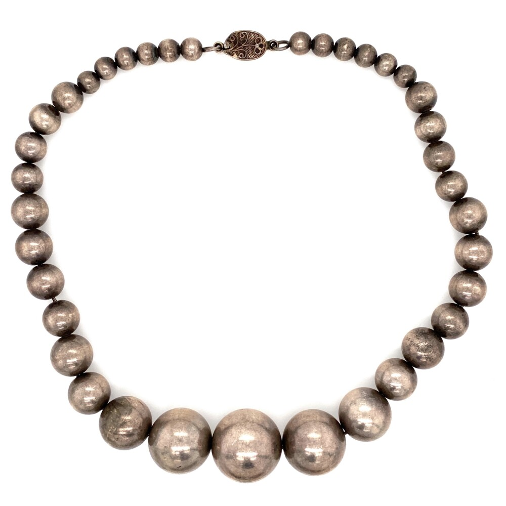 """925 Sterling Bead Necklace 21-5.7mm 71.5g, 16"""""""