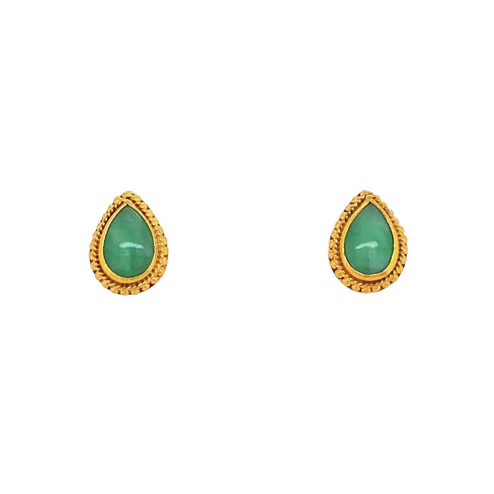 Image 2 for 24K YG Pear Shape Green Jade Earrings with Granulation 3.8g