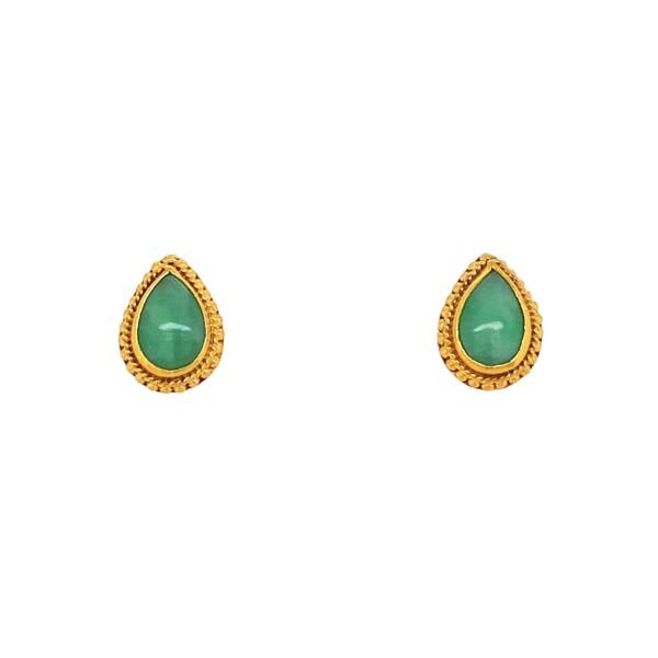 Closeup photo of 24K YG Pear Shape Green Jade Earrings with Granulation 3.8g