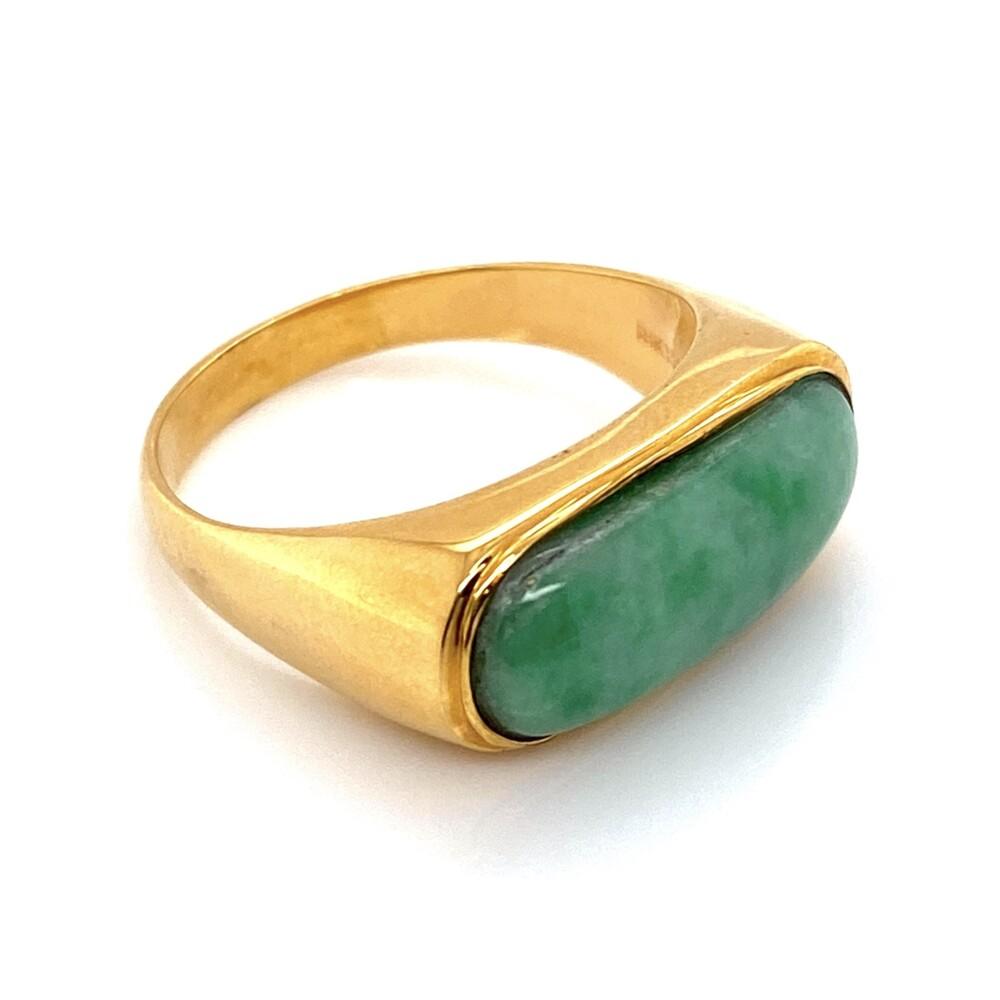 18K YG Green & White Jade Bar Ring 5.5g, s7.75