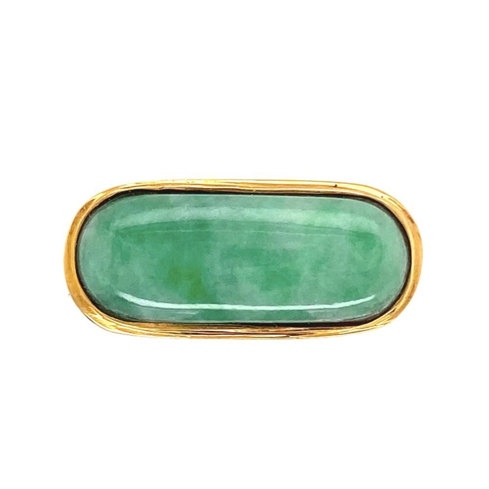 Image 2 for 18K YG Green & White Jade Bar Ring 5.5g, s7.75