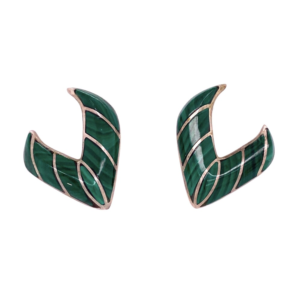 925 Sterling Native Malachite V Shape Earrings 8.4g