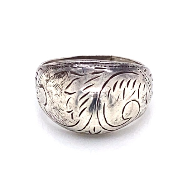 Closeup photo of 925 Sterling Engraved Dome Band Ring 2.1g, s5