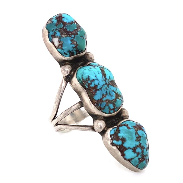 Closeup photo of 925 Sterling Native 3 Turquoise Nugget Ring 9.1g