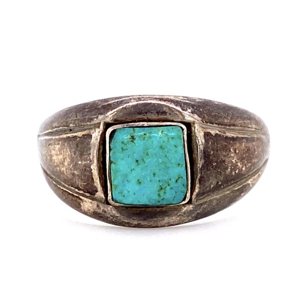 Closeup photo of 925 Sterling Native Tapered Turquoise Band 4.4g, s9