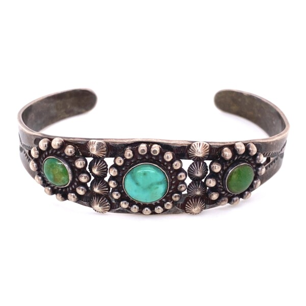 Closeup photo of 925 Sterling 3 Turquoise Beaded & Engraved Cuff 22.5g