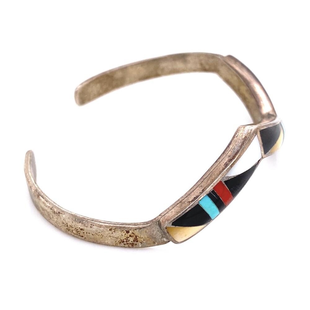 Image 2 for 925 Sterling Native ZUNI Gemstone Inlay Cuff 15.9g